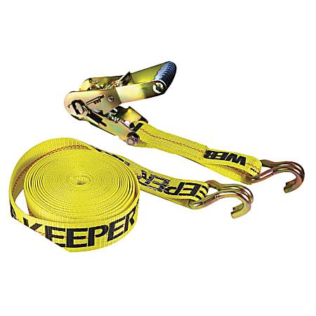 Ratchet Tie-Down Straps, Double-J Hooks, 2 in W, 27 ft L, 10,000 lb Capacity