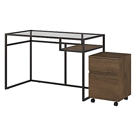 """Bush Furniture Anthropology 48""""W Glass Top Writing Desk With 2 Drawer Mobile File Cabinet, Rustic Brown Embossed, Standard Delivery"""