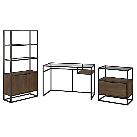 """Bush Furniture Anthropology 48""""W Glass Top Writing Desk With Bookcase And Lateral File Cabinet, Rustic Brown Embossed, Standard Delivery"""