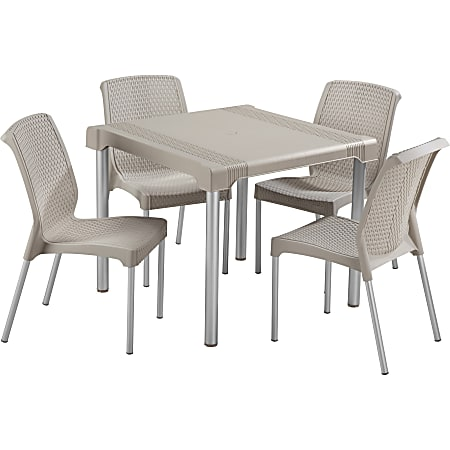 Rimax 5-Piece Breakroom/Lunch Room Table and Chairs Set, Taupe