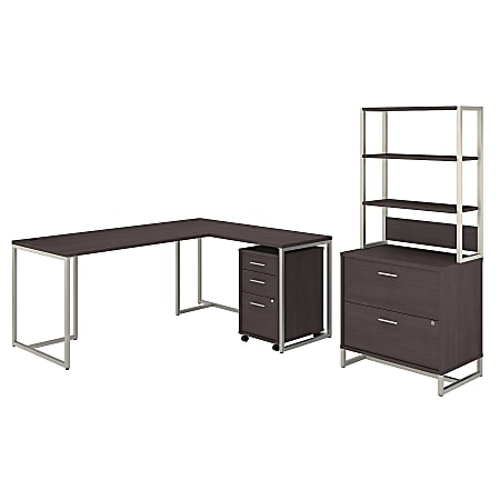 """kathy ireland® Office by Bush Business Furniture Method 72""""W L-Shaped Desk With 30""""W Return, File Cabinets And Hutch, Storm Gray, Standard Delivery"""
