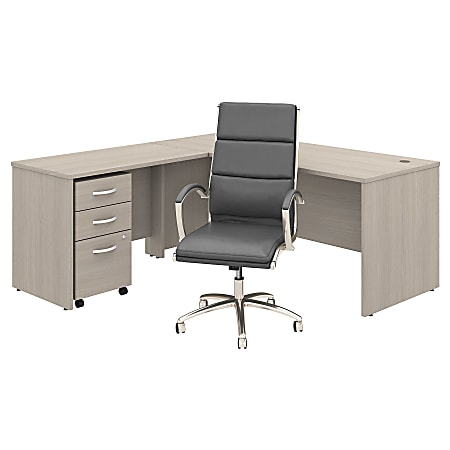 """Bush Business Furniture Studio C 71""""W L-Shaped Desk With Mobile File Cabinet and High-Back Office Chair, Sand Oak, Premium Installation"""