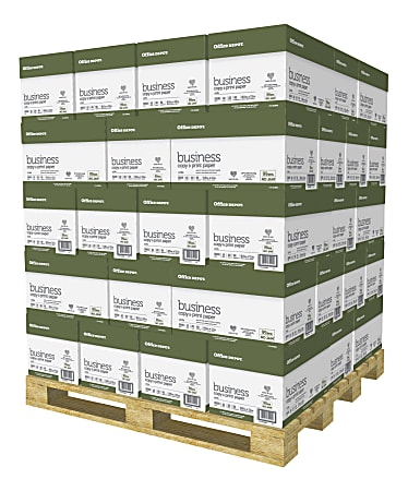 """Office Depot® Brand Business Copy and Print Paper, Letter Size (8-1/2"""" x 11""""), 92 (U.S.) Brightness, 20 Lb, Case Of 10 Reams, Single Pallet Of 40 Cases"""