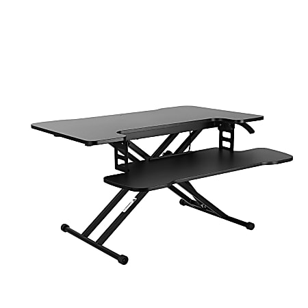 "FlexiSpot M18M Sit-To-Stand Desk Converter, 17-3/4""H x 30-3/4""W x 18-15/16""D, Black"