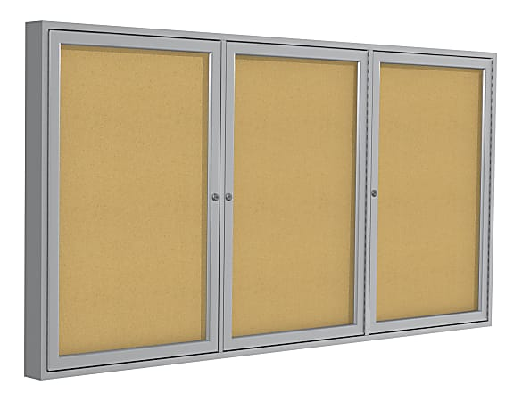 "Ghent 3-Door Enclosed Cork Bulletin Board, 48"" x 96"", Natural, Satin Aluminum Frame"
