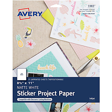 """Avery® Sticker Project Paper, Letter Size (8 1/2"""" x 11""""), White, Pack Of 15 Sheets"""