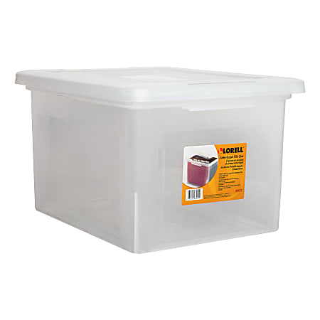 """Lorell® Storage File Boxes With Lift-Off Lids, Letter/Legal Size, 18"""" x 11"""" x 14 3/16"""", Clear, Case Of 4"""