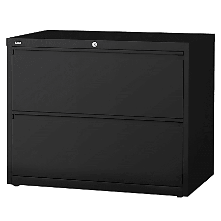 """Lorell® Fortress 42""""W Lateral 2-Drawer File Cabinet, Metal, Black"""
