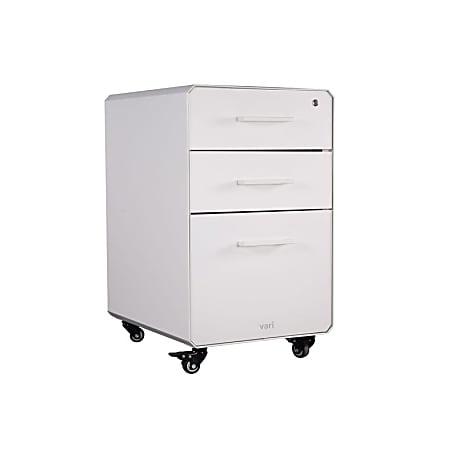 "VariDesk 16""W 3-Drawer Lateral Mobile File Cabinet, White"