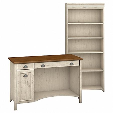 Bush Furniture Fairview Computer Desk And 5 Shelf Bookcase, Antique White/Tea Maple, Standard Delivery