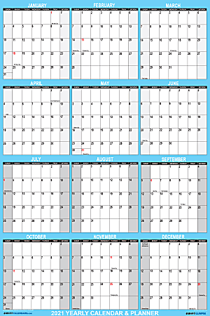 """SwiftGlimpse 2-Sided Yearly Erasable Wall Calendar, 24"""" x 36"""", Blue, January To December 2021"""