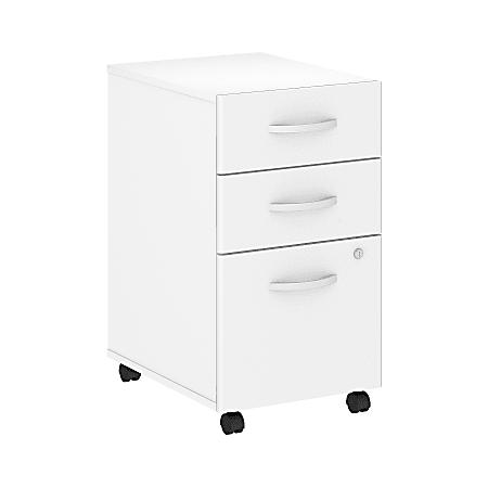 "Bush Business Furniture Studio C 20-1/4""D Vertical 3-Drawer Mobile File Cabinet, White, Standard Delivery"