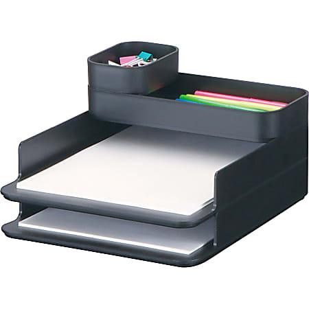 "Safco Stacking Plastic Desktop Sorter Sets - 4 Compartment(s) - 6.3"" Height x 10"" Width x 12.3"" Depth - Desktop - Durable - Black - Acrylonitrile Butadiene Styrene (ABS) - 1 Each"