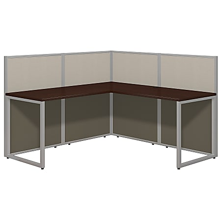 """Bush Business Furniture Easy Office 60""""W L-Shaped Cubicle Desk Workstation With 45""""H Panels, Mocha Cherry/Silver Gray, Premium Installation"""