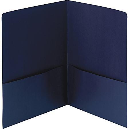 Smead® Linen 2-Pocket Folders, Letter Size, Dark Blue, Box Of 25 Folders
