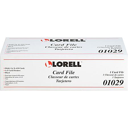 Lorell Desktop Card File - 650 Card Capacity - Black, Smoke