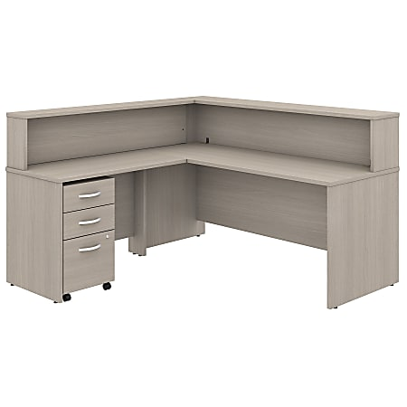 "Bush Business Furniture Studio C 72""W x 30""D L-Shaped Reception Desk With Shelf And Mobile File Cabinet, Sand Oak, Standard Delivery"