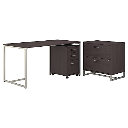 """kathy ireland® Office by Bush Business Furniture Method 60""""W Table Desk With File Cabinets, Storm Gray, Premium Installation"""