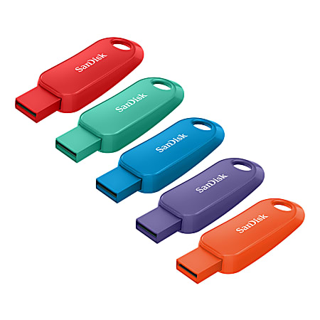 SanDisk® Cruzer™ Snap USB Flash Drives, 16GB, Pack Of 5 Flash Drives, SDCZ62-016G-A5MV, Assorted Colors