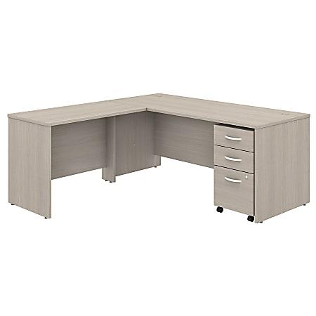 "Bush Business Furniture Studio C 72""W x 30""D L-Shaped Desk With Mobile File Cabinet And 42""W Return, Sand Oak, Premium Installation"