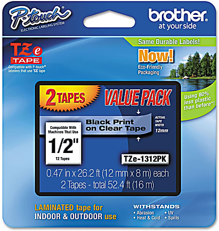 """Brother® TZe-1312-PK Black-On-Clear Tapes, 0.5"""" x 26.2', Pack Of 2"""