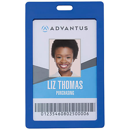 "Advantus Vertical Rigid ID Badge Holder - Support 2"" x 3.25"" Media - Vertical - Plastic - 6 / Pack - Blue"