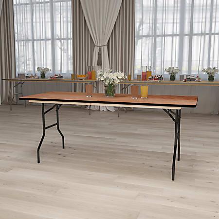 "Flash Furniture Rectangular Folding Banquet Table, 30-1/4""H x 30""W x 72""D, Natural/Black"