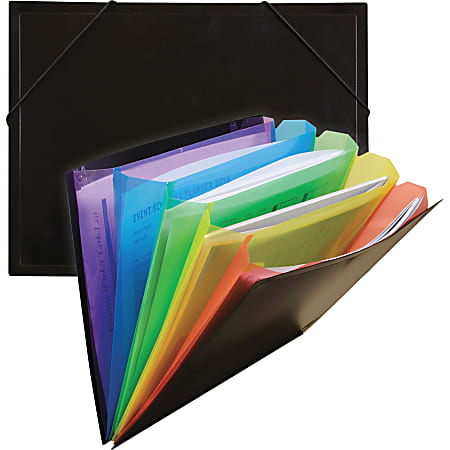 "C-Line Rainbow Letter File Pocket - 8 1/2"" x 11"" - 250 Sheet Capacity - Polypropylene - Black - 1 Each"