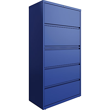 """Lorell® 36""""W Lateral 5-Drawer File Cabinet, Metal, Blue"""
