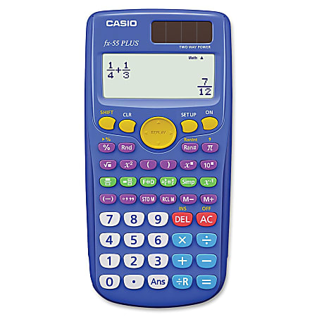 Casio FX-55 Plus Fraction Calculator - Hard Shell Cover - 12 Digits - Dot Matrix - Battery Powered - 1 Each