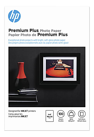 """HP Premium Plus Photo Paper for Inkjet Printers, Soft Gloss, 4"""" x 6"""", 80 Lb., Pack Of 100 Sheets (CR666A)"""