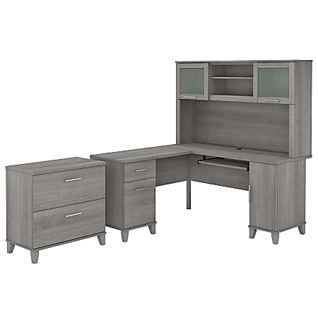 """Bush Furniture Somerset 60""""W L-Shaped Desk With Hutch And Lateral File Cabinet, Platinum Gray, Standard Delivery"""