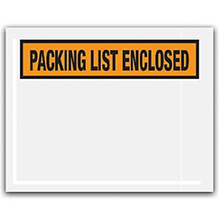 "Office Depot® Brand ""Packing List Enclosed"" Envelopes, Panel Face, Orange, 4 1/2"" x 5 1/2"" Pack Of 1,000"