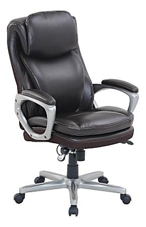 Serta® Smart Layers™ Arlington AIR™ Ergonomic Bonded Leather High-Back Executive Chair, Brown/Silver