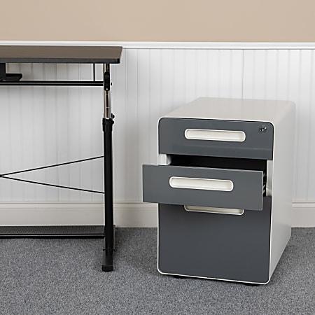 """Flash Furniture Ergonomic 21""""D Vertical 3-Drawer Mobile Locking Filing Cabinet, Metal, White/Charcoal"""