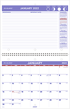 """AT-A-GLANCE® Monthly Desk/Wall Calendar, 11"""" x 8-1/2"""", January To December 2022, PM17028"""