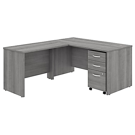 """Bush Business Furniture Studio C 60""""W x 30""""D L-Shaped Desk With Mobile File Cabinet And 42""""W Return, Platinum Gray, Standard Delivery"""