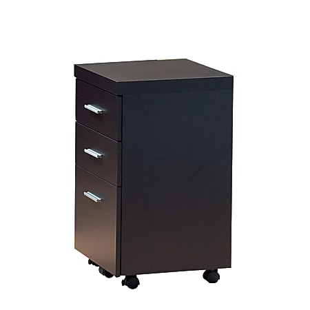 """Monarch Specialties 16""""D Vertical 3-Drawer Hollow-Core File Cabinet With Casters, Cappuccino"""