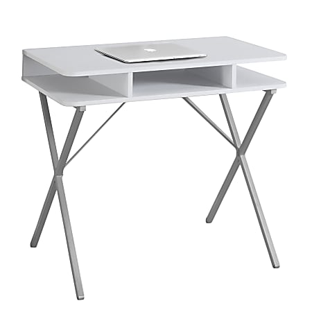 Monarch Specialties Computer Desk With Cubbies, White/Silver