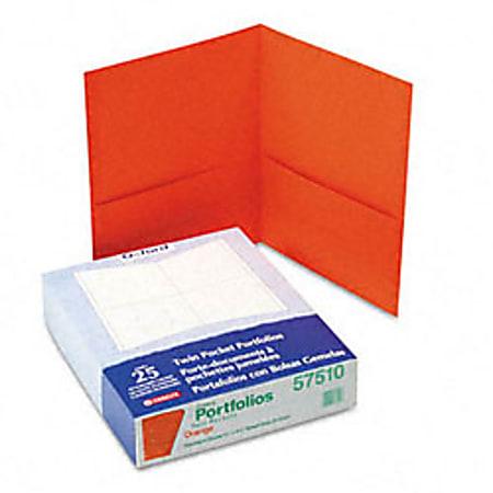 "Oxford™ Twin-Pocket Portfolios, 8 1/2"" x 11"", Orange, Pack Of 25"
