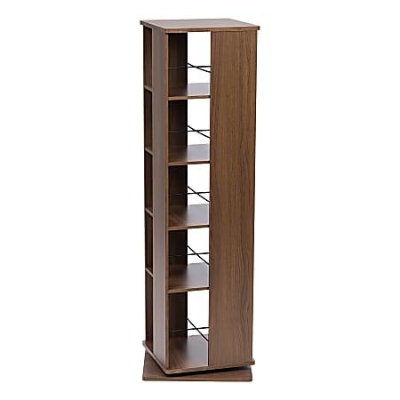 "IRIS 54-3/4""H 5-Tier Revolving Bookshelf, Brown"
