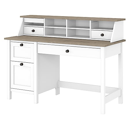 """Bush Furniture Mayfield 54""""W Computer Desk With Drawers And Desktop Organizer, Pure White/Shiplap Gray, Standard Delivery"""