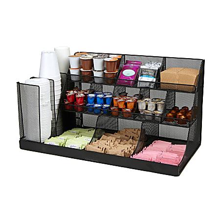 Mind Reader 3-Tier Breakroom Condiment Organizer, Black