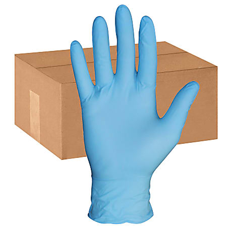 Protected Chef PF General Purpose Nitrile Gloves - Large Size - Nitrile - Blue - Powder-free, Ambidextrous, Beaded Cuff, Disposable - For Construction, Chemical, Multipurpose, Cleaning, Food, Laboratory Application - 1000 / Carton - 3.5 mil Thickness