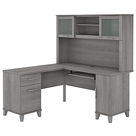 "Bush Furniture Somerset 60""W L-Shaped Desk With Hutch, Platinum Gray, Standard Delivery"
