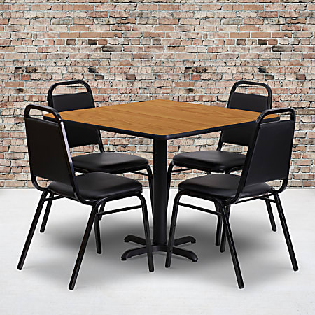 """Flash Furniture Square Table With 4 Trapezoidal-Back Banquet Chairs, 30"""" x 36"""", Natural/Black"""