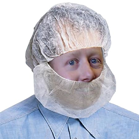 Protective Industrial Products Polypropylene Beard Net Protectors, White, Pack Of 100 Protectors