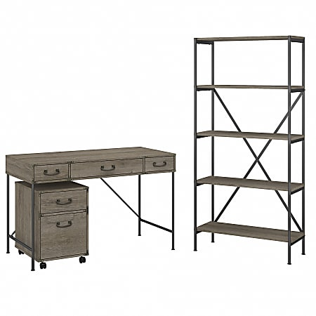 """kathy ireland® Home by Bush Furniture Ironworks 48""""W Writing Desk With Mobile File Cabinet And 5-Shelf Bookcase, Restored Gray, Standard Delivery"""