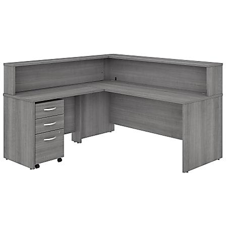 "Bush Business Furniture Studio C 72""W x 30""D L-Shaped Reception Desk With Shelf And Mobile File Cabinet, Platinum Gray, Premium Installation"