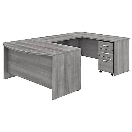 "Bush Business Furniture Studio C U-Shaped Desk With Mobile File Cabinet, 60""W x 36""D, Platinum Gray, Standard Delivery"
